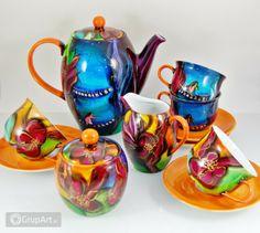 """Bajeczny komplet kawowy """"Zaczarowana kraina"""". Aby poranna kawa była wyjątkowa :) Tea Pots, Tableware, Dinnerware, Tablewares, Tea Pot, Dishes, Place Settings, Tea Kettles"""