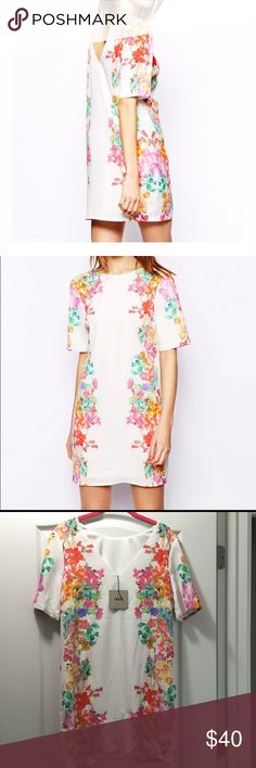 NWT ASOS Floral Shift Dress White with multi-color mirror floral pattern. Size 4 and 6 available. Never worn. ASOS Dresses
