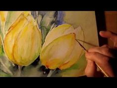 Watercolor yellow tulips video parts 2 Watercolor Video, Watercolour Tutorials, Watercolor Techniques, Art Techniques, Watercolour Painting, Watercolor Flowers, Painting & Drawing, Watercolors, Painting Videos