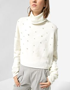 Polo neck sweater embellished with beads