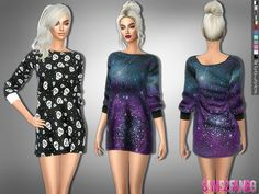 .:283 - Galena Wide Dress:. Found in TSR Category 'Sims 4 Female Everyday'