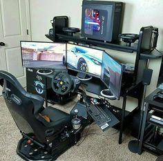 This list of the most advanced, smart, and innovative video game room ideas will guide you to find a design that matches your budget planning. Remember that each ideas will have different budget depends on the size, accessories, and of course the rig. Computer Gaming Room, Gaming Room Setup, Computer Setup, Pc Setup, Desk Setup, Gaming Rooms, Deco Gamer, Racing Simulator, Video Game Rooms