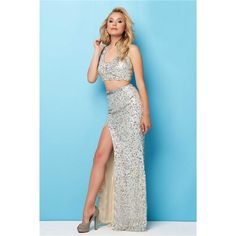 Fitted Scoop Neck High Slit Two Piece Silver Sequin Prom Dress ($141) ❤ liked on Polyvore featuring dresses, gowns, sequin dress, blue sequin gown, blue sequin dress, prom dresses and prom gowns