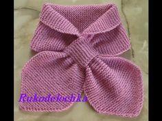 Bufanda de moñito tejida con agujas. 1a. parte - YouTube