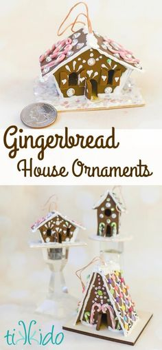 Make miniature gingerbread house Christmas ornaments with this tutorial, using polymer clay, puff paint, and assorted small sparkly things for the candies.