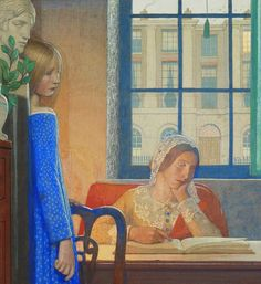 Evening in London Frederick Cayley Robinson (English, Tempera and pencil on board. Robinson's pictures are almost always of people; denizens of a silent, timeless world. People Reading, Woman Reading, Reading Art, Reading Books, 20th Century Painters, Art Nouveau, Sea Pictures, Happy Pictures, Fra Angelico
