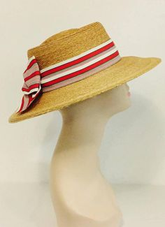 Tracy Tooker Milan Straw Boater Trimmed in Antique Ribbon