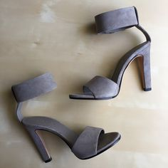 """Vince Gita suede ankle strap heels New in box with dust bag. Color is woodsmoke. Vince """"Gita"""" sandal in suede. First photo shows the color best.  4 1/4"""" covered heel. Open toe. Covered buckled ankle strap. Leather lining and sole. """"Gita"""" is made in Italy. Vince Shoes Sandals"""