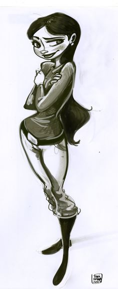 Female character design drawing by Toni Reyna