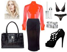 """Eva at work: A crimson long sleeved silk shirt & black pencil skirt at the first meeting for the Kingsman Vodka account. She abruptly stops at the sight of Gideon again in the meeting room's entrance, causing her boss to trip into her from behind. She stumbles and fall right smack into Gideon arms. """"Dark and Dangerous caught me by the waist, hauling me off my feet and directly into his chest."""" Bared To You: A Crossfire Novel by Sylvia Day"""