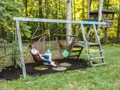 Swing Set for Grown Ups Are your kids still using that old swing set in your backyard or have they long outgrown it? It's time to make this a Swing Set for Grown Ups! Sets for grown ups Swing Set for Grown Ups Backyard Swings, Backyard Playground, Backyard For Kids, Backyard Projects, Outdoor Projects, Backyard Patio, Backyard Ideas, Backyard Games, Patio Ideas