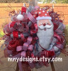 XL Deluxe Deco Mesh Christmas Wreath, Indoor Outdoor Wreath, Santa Wreath on Etsy, $225.00