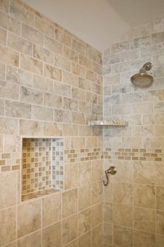 color inspiration. gorgeous bathroom using cream 4x4 stone tile