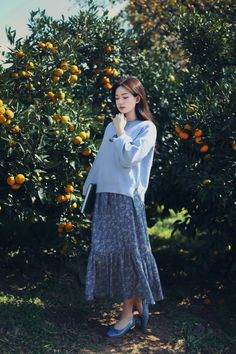 Long Skirt Fashion, Korean Fashion Dress, Korean Outfits, Asian Fashion, Modest Fashion, Look Fashion, Girl Fashion, Fashion Outfits, Cute Casual Outfits