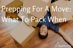 Prepping for a big move? Don't wait until the week of to begin packing! Here's an outline for what to pack when: what can be done now and what should wait. Moving Day, Moving Tips, Moving House, Start Pack, Pack Up, Move On Up, Big Move, Packing To Move, Packing Tips