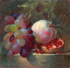 Edward Deakin ~ Oil Painting Of Pomegranate And Peach And Other Fruit