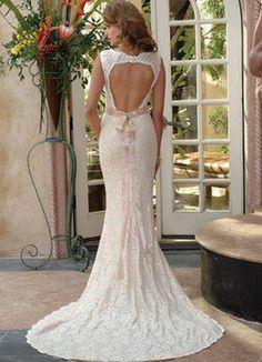 Wedding, Dress, Lace, Sheath, Back, Open