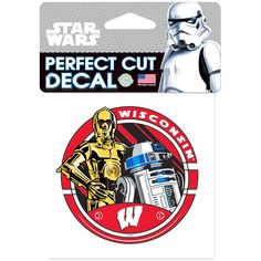 """Wisconsin Badgers WinCraft 4"""" x 4"""" Star Wars Perfect Cut R2D2 & C3PO Decal - $3.99"""