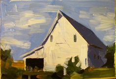 """""""DeSoto, KS  Barn"""" - Sean Dietrich; simple, abstracted forms with end-of-day colors"""