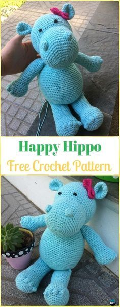 Crochet Amigurumi Happy Hippo Free Pattern - Amigurumi Crochet Hippo Toy Softies Free Patterns