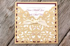 $5.36 per Gold Shimmery Laser Cut Folder with Burgundy - CARRIE - *Sample*  Layered Matte Wine Purple and Cream Ribbon Wedding Invitation with RSVP by PaperScapeDesign on Etsy https://www.etsy.com/listing/272177002/gold-shimmery-laser-cut-folder-with