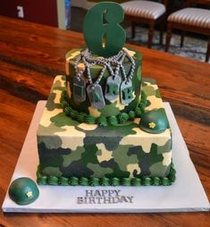 An army themed birthday cake is a perfect addition to any army themed slumber party. Army Themed Birthday, Army Birthday Cakes, Army Birthday Parties, Army's Birthday, Paintball Birthday, Birthday Ideas, Camouflage Party, Camo Party, Army Camouflage