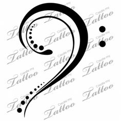 Marketplace Tattoo bass clef #2460 | CreateMyTattoo.com