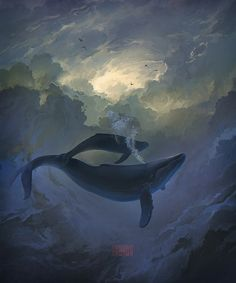 Digital artist Artem Rhads Cheboha has created an amazing series of digital artworks depicting fantasy scenes of flying whales and other sea creatures above the clouds. Whale Art, Wale, Sea Creatures, Under The Sea, Beautiful World, Amazing Art, Fantasy Art, Cool Art, Concept Art