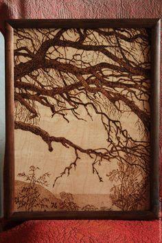 ручной работы. Ярмарка Мастеров - ручная работа. Купить Пейзаж с деревом. Handmade. Коричневый, берёзовая фанера
