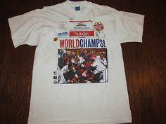Atlanta Braves 1995 World Series Champions Victory Signed MARK LEMKE SHIRT-XL/L