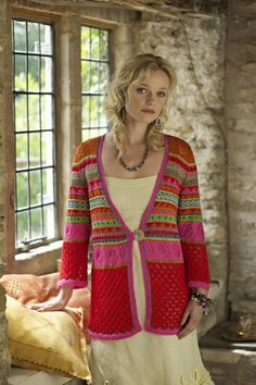 These are just delicious colours for a summer jacket ~ for me I would adapt and have a bask just below the pink = shorter...... design by Amanda Jones