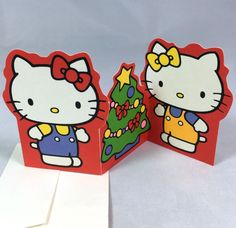 VTG SANRIO ❤︎ HELLO KITTY & MIMMY CHRISTMAS CARD/TAG ❤︎ VERY RARE KAWAII (1976)
