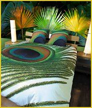 Peacock Feather Bedding - exotic bedding tropical