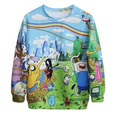 New-Womens-Trench-Cartoon-Printed-Oversized-Hoodie-Outerwear-Hooded-Coat-Jacket