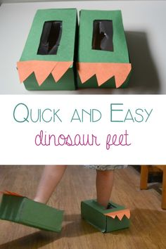 Quick and Easy dinosaur feet bringing the book Edwina the dinosaur that didn't know she was extinct alive for kids