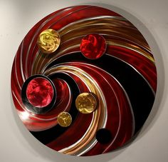 Red Metal Wall Art modern-metal-wall-art-pendulum-clock-abstract-sculpture-decor