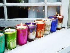 Indian Wedding Decor Candles Glasses Votives #Pinned by Devika Narain