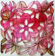 Kathleen's Organza Extrav-Organza: Organza flowers in easy free motion stitching Fiber Art Quilts, Textile Fiber Art, Textile Artists, Fabric Painting, Fabric Art, Fabric Crafts, Fabric Sewing, Collage Techniques, Textiles Techniques