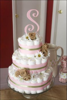 Monogram Diaper cake! With wash cloth roses