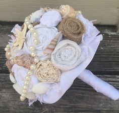 Beach Wedding Bouquet Burlap and Lace Bouquet Rustic by LCFloral