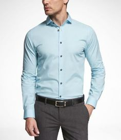 1MX Limited Edition Fitted Cutaway Collar Surf Blue Shirt - Express Men