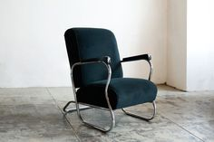 "Art Deco Chrome Lounge Chair, ""E-Shape,"" c. 1930's"