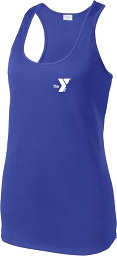 YMCA Apparel Store - Royal Ladies Performance Racerback Tank with White Y Logo
