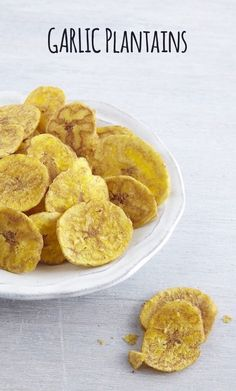 Made with real garlic, these garlic plantains are perfect with hummus, guacamole, or crunching on top of your salad.
