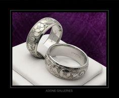 Wedding Band Engraved Patterns Wedding Ring Vintage Antique Look Inside The…