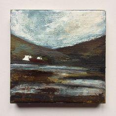 "Mini Mixed Media Art on wood By Louise O'Hara - ""Across the flooded field"" Detail Art, Medium Art, Solid Oak, Mixed Media Art, Wood Art, Original Artwork, Ink, Abstract, Painting"