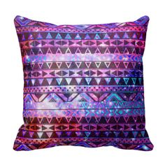 Girly Andes Aztec Pattern Pink Teal Nebula Galaxy Pillows