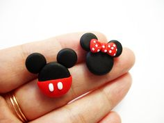 GUO GUO'S- Mickey and Minnie Mouse Ear stud  , Handmade polymer clay Earrings, made to order