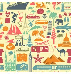 Travel background vacations beach resort seamless vector - by a7880s on VectorStock®