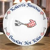 Personalized Bar-B-Que Plate with Red Gingham Barbecue Mitt Decoration